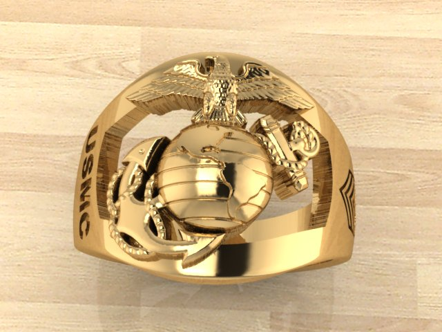 Custom Gold Marine Corps Ring with Rank Made in the USA